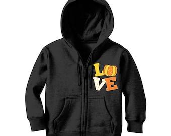Pumpkin Fall Love Classic Kids Zip Hoodie