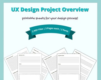 UX Design Project Overview Template   Printable for UX Designers
