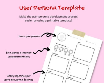 User Persona Template   Printable for UX Designers