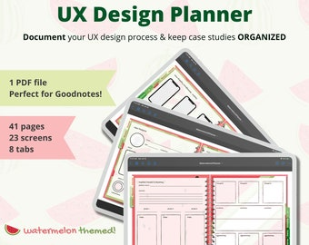 UX Design Planner for iPad   Journal for Design Process   Green & Pink Watermelon Theme