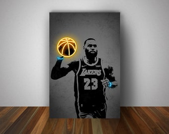 LeBron James Poster, Neon Effect Canvas Prints, Sports Art Prints, Wall Decor, Man Cave Gift, Gift for Him/Her