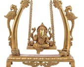 Anuken Decor Brass Ganesh Bhagwan Jhula Idol Ganesha Swing Statue Ganpati Bappa Jhoola