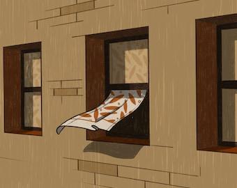 Brooklyn Window - Illustration - Art - Art Print - Digital - Painting - Artwork - Wall Decor - Wall Art - Small Print - Large Print