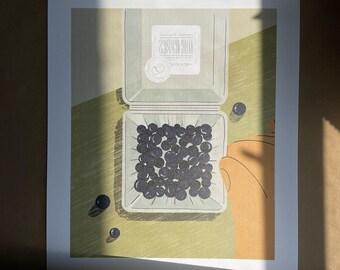 Blueberries- Illustration - Art - Art Print - Digital - Painting - Artwork - Wall Decor - Wall Art - Small Print - Large Print  - Home Decor