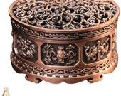 Incense burner with metal incense holder, 8 patterns symbolizing health and longevity, aromatherapy decoration, 30 rolls of incense