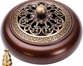 Copper incense burner with incense stick and combo lotus incense holder cone plate incense burner with lid Interior decoration