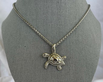 Turtle Charm Necklace - Stainless Steel - Lobster clasp - Chain - Water Collection - Ocean - Sea - Animal - Silver Jewelry