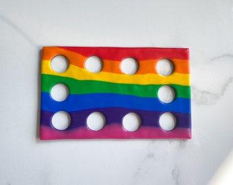 Rainbow striped rectangular 10 hole floss holder- thread organiser- thread holder- cross stitch threads- floss storage- thread storage