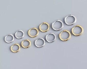 18k Silver Gold Plated Pair Huggie Hoop Earrings | Delicate Hoop Earrings | Minimalist Earrings | Gold Small Hoop Earrings