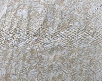 Barbara Beckmann Designs Café au Lait Renaissance Floral on Cream Cotton Sateen