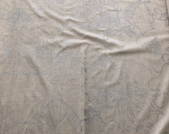 Barbara Beckmann Designs Bleached White Backed Tussah Silk with Silver Lotus Pods