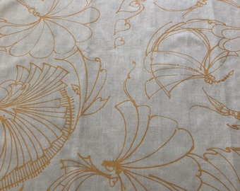 Barbara Beckmann Designs Ivory Backed Tussah Silk with Gold Petit Fans