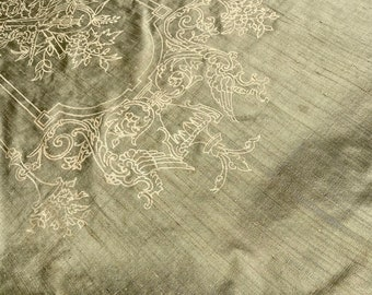 Barbara Beckmann Designs Olive Silk Dupioni with Lute 19 yards 19 patterns