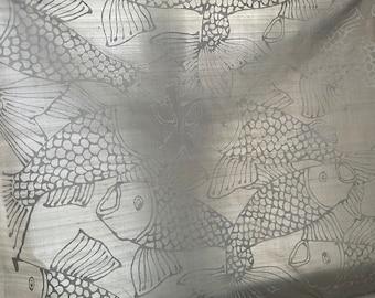 Barbara Beckmann Designs Silver Silk Dupioni with Silver Pesce 28 yards