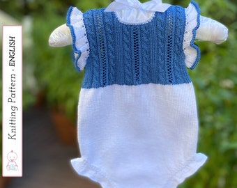 BABY ROMPER Triana knitting pattern #128   Baby Onesies knit pattern   0-3 months. Very detailed instructions. Instant pdf file download