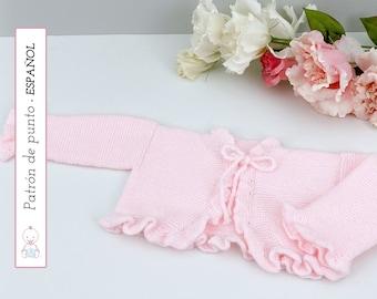 Chaqueta Victoria PATRÓN PUNTO Bebé  nº 129   Baby Cardigan knit pattern   0-6 meses  Instrucciones detalladas   Descarga pdf instantánea