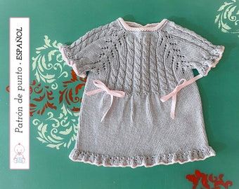 VESTIDO Bebé Abril PATRÓN nº 133 l 0-3 meses   Baby Dress Knitting Pattern   Instrucciones muy detalladas   Descarga pdf instantánea