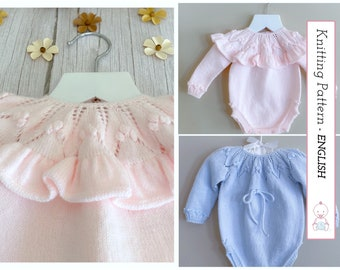 Nadia Romper KNITTING PATTERN #134 l Sizes 0-4 months   Patrón Punto Bebé   Very detailed instructions   Instant pdf download