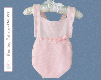 Victoria Baby Romper KNITTING PATTERN #129 - Seamless Newborn Romper   Easy to follow instructions   Instant Download PDF