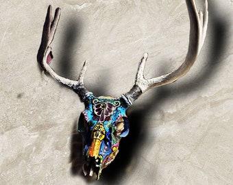 Colorful Painted Deer Skull