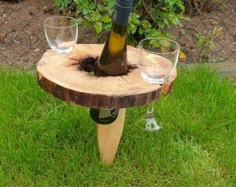 """Wine table """"Wine To-Go"""", unique from a tree slice"""