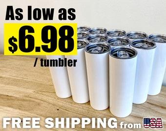 Bulk 20oz blank tumblers | Sublimation Blank Tumbler | Wholesale Straight White Tumblers | FREE SHIPPING