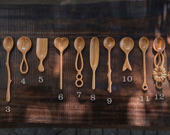 Set of 2 Wooden Spoons, Hand Carved Wooden Spoon, Wooden Cooking Serving Spoon, Kitchen Decor. Kitchen Gift. Natural Beautiful Wooden Spoons