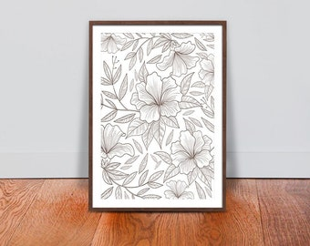 Hand Drawn Floral Wall Art - White & Gold Luxury Design Print - Floral Botanical Printable Art - Interior Design Art - Floral Home Decor