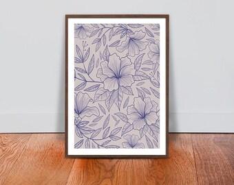 Hand Drawn Floral Wall Art - Lavender & Blue Luxury Design Print - Floral Botanical Printable Art - Interior Design Art - Floral Home Decor