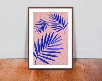 Palm Leaves Wall Art - Pink Blue Luxury Design Print - Floral Botanical Printable Art - Tropical Plant Interior Design - Floral Home Decor