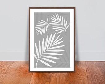 Palm Leaves Wall Art - Grey White Luxury Design Print - Floral Botanical Printable Art - Tropical Plant Interior Design - Floral Home Decor