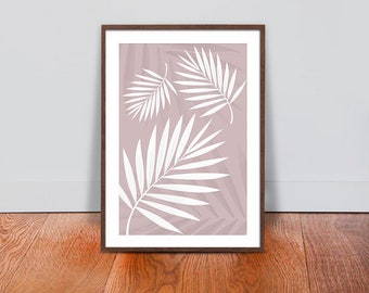 Palm Leaves Wall Art - Linen White Luxury Design Print - Floral Botanical Printable Art - Tropical Plant Interior Design - Floral Home Decor