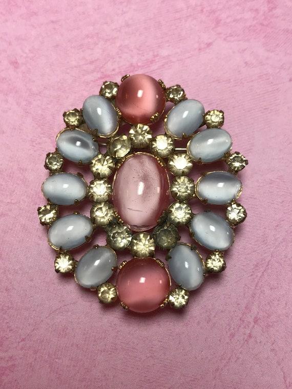 Vintage 1940's Pale Pink & Blue Lucite Moonstone B