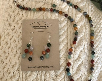 Multi Gemstone Necklace with Extender Chain Can Also Be Worn as a Bracelet, Double Stick Gemstone Earrings with Sterling Silver included