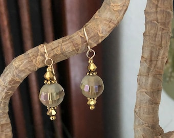 Gold and Crystal 1 Inch Dangle Earrings,Faceted and Partially Frosted Round Crystals, Gold Bicone Crystals