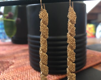 Spiral Gold Crocheted Dangle Earrings, 3 inches long, Lightweight and Fun!