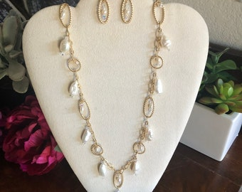 Satin Gold, Long Decorative Chain with Wire Wrapped White Baroque Pearls and Crystals, Matching earrings