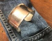 Wide Silver Hammered Cuff...