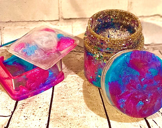 Custom Resin Stash Jar and Bud box combo