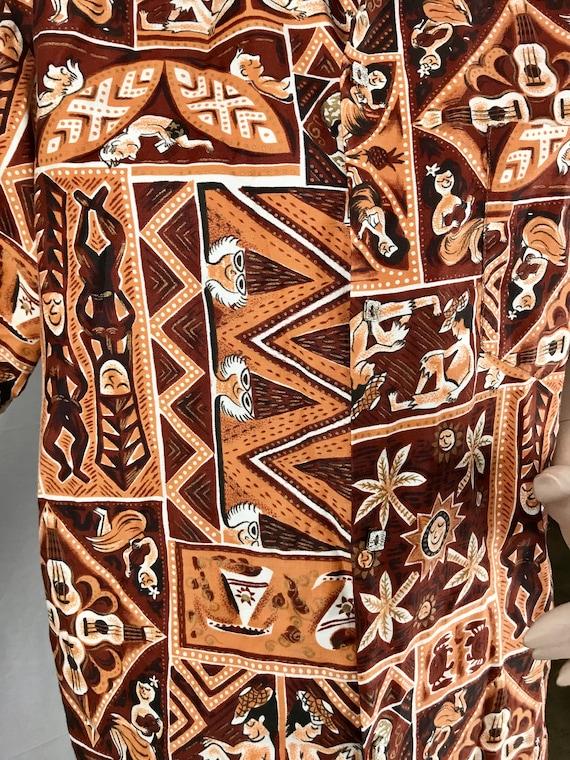 Men's Vintage Tiki Hawaiian Button Up Shirt 1950'… - image 4