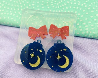 Large/ Small Silent night Celestial Christmas Bauble Earring Mold large Christmas jewellery silicone mould