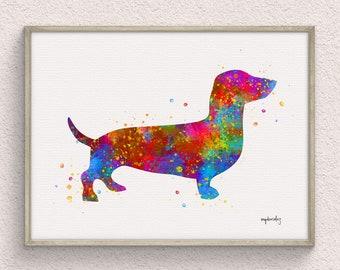 Dachshund Watercolor Art Print, Watercolor Painting, Animal Wall Decor, Pet Home Decor, Downloadable Prints