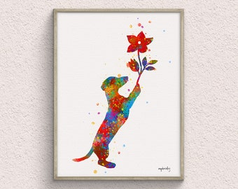 Dachshund with Flower Watercolor Art Print, Watercolor Painting, Pet Home Decor, Animal Wall Decor, Downloadable Prints