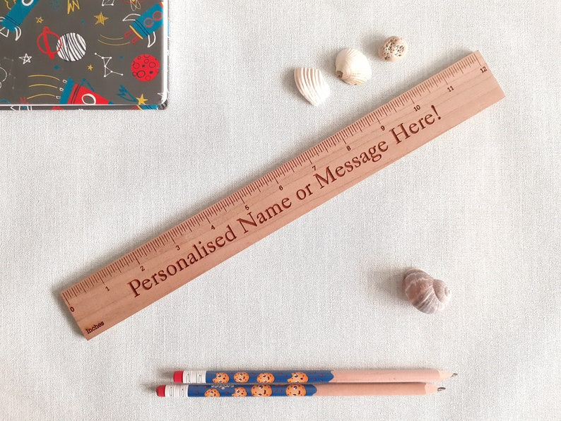 Personalised Wooden Ruler Cherry 30cm or 12 inches wood image 1