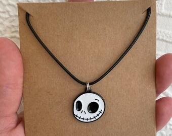 Skeleton necklace Christmas jack skellington Disney Halloween goofy necklace bones head charm