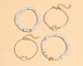 4 bracelets set white howlite inspired affordable jewelry white stone inspired gifts for her turtle mountain wave nature minimalist