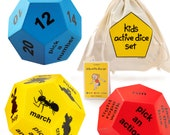 Kids fitness and movement dice set. Play fun active games. 3 x 12-sided foam activity cubes - a great toy suitable for indoors and outdoors.