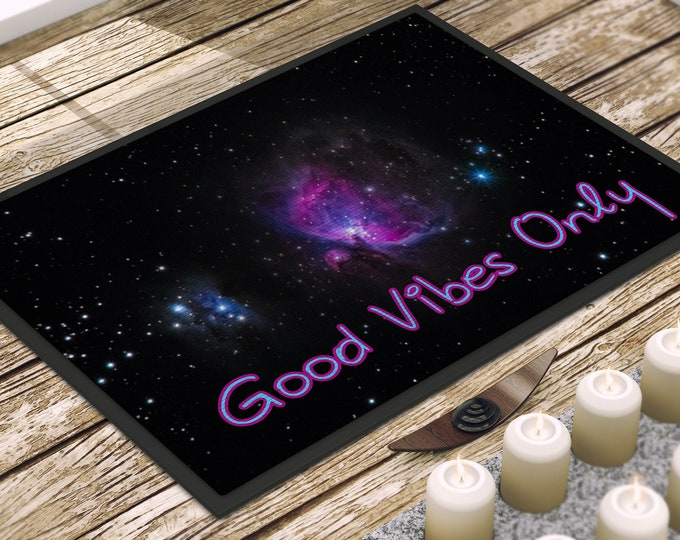 Featured listing image: Washable Door Mat for Indoor or Patio Use - Good Vibes Only - Inspiring Home Decor Quality Law of Attraction Door Mats & Pet Mat