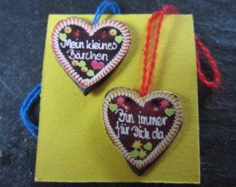 2 gingerbread hearts funfair made of fimo miniature