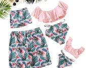 Off Shoulder Crop top Swimwear Woman Girl Vignette Plant Trunks Dad Son Swimwear Family Holiday Swimwear